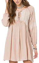 O'Neill Junie Embroidered Lace-Up Pleated Shift Dress