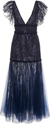 J. Mendel Sheer Metallic Tulle Dress