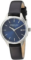 Kenneth Cole New York Women's 'Classic' Quartz Stainless Steel and Leather Dress Watch, Color:Black (Model: 10030839)