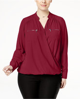 INC International Concepts Plus Size Surplice Blouse, Only at Macy's