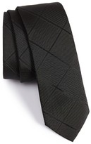 BOSS Men's Solid Diamond Weave Silk Tie