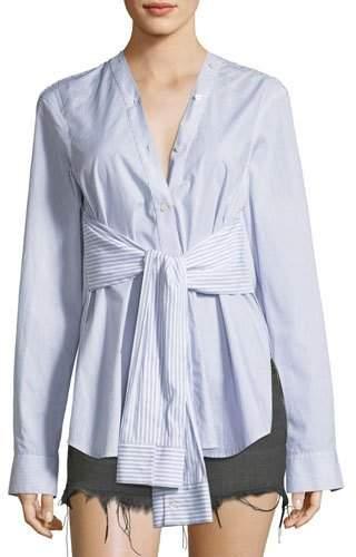 Alexander Wang Tie-Front Long-Sleeve Combo Striped Shirt