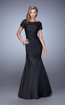 La Femme 21670 Sequined Draped Mermaid Gown