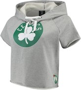 Unbranded Women's Heathered Gray Boston Celtics French Terry Raw Edge Cropped Hoodie