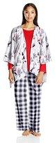 Karen Neuburger Women's Long Sleeve Minky Fleece 3pc Poncho Set