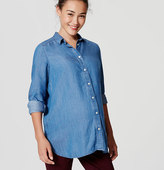 LOFT Petite Maternity Shirred Chambray Softened Shirt