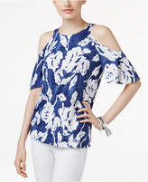 INC International Concepts Floral-Print Cold-Shoulder Top, Created for Macy's