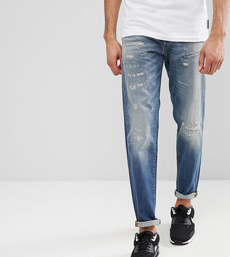 Selected Jeans In Tapered Fit With Rip Repair Italian Denim-Blue