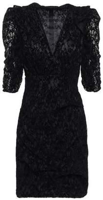 Maje Ruched Flocked Lace Mini Dress