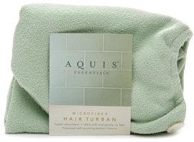 Aquis Essentials Microfiber Hair Turban with Button Closure, Celadon