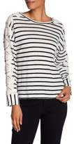 Laundry by Shelli Segal Linen Stripe Lace Sleeve Top