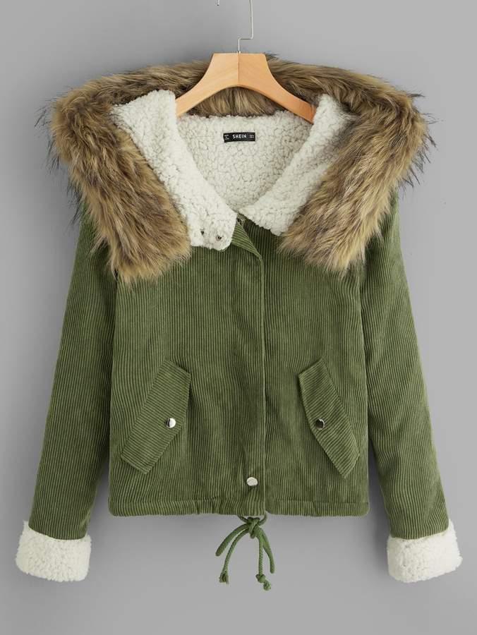 56492952ac Shein Green Fur & Shearling Coats - ShopStyle