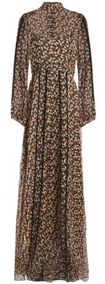 Rochas Tie-back Lace-trimmed Printed Silk-chiffon Maxi Dress