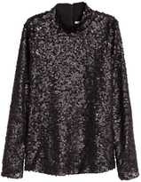 H&M Sequined Top - Black - Ladies