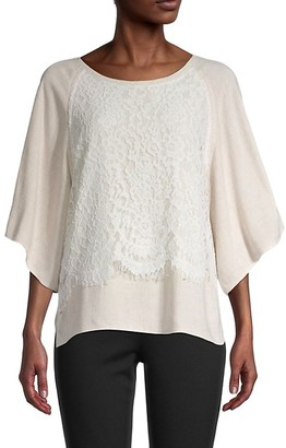 Karen Kane Lace Linen-Blend Draped Top