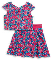 Us Angels Girls 7-16 Girls Lasercut Floral Top and and Skirt Set