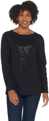 Belle By Kim Gravel TripleLuxe Sequin Long Sleeve Top