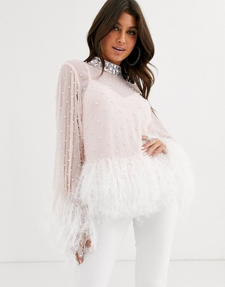 Asos Design DESIGN Sheer top with pearl embellishement and feather hem-Pink
