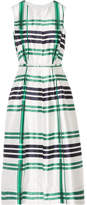 Oscar de la Renta Plaid Silk And Cotton-blend Dress - Emerald