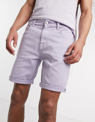 ASOS DESIGN skinny denim shorts in lilac