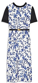 Tory Burch Greer Floral Print Belted Midi Dress