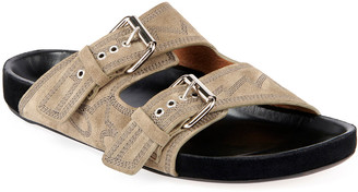 Isabel Marant Lennyo Embroidered Suede Sandals