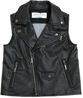 John Galliano Faux Leather & Denim Vest