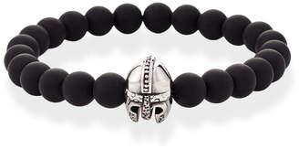 Jean Claude Matte Onyx & Silver-Tone Helmet Bracelet