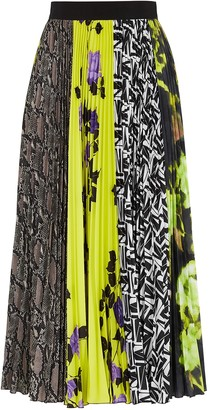 MSGM Contrast-print pleated midi skirt