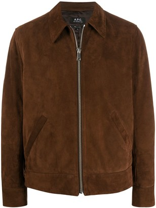 A.P.C. Pointed Collar Suede Jacket