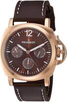 Peugeot Men's 'Rose Gold Multi-Function' Quartz Metal and Leather Sport Watch, Color: (Model: 2056RBR)