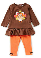 Starting Out Baby Girls 12-24 Months Thanksgiving Turkey Ruffle Top & Leggings Set