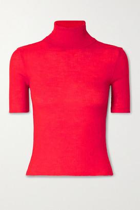 Meryll Rogge Ribbed Wool Turtleneck Sweater - Red