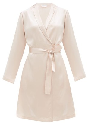 La Perla Belted Short Silk Robe - Light Pink