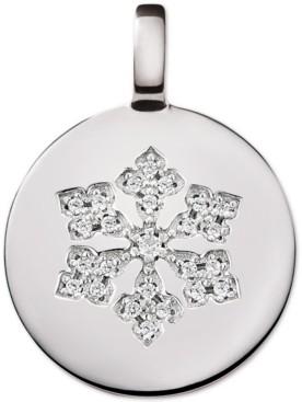 CHARMBAR Swarovski Zirconia Reversible Snowflake Charm Pendant in Sterling Silver