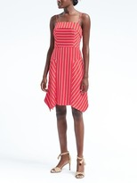 Banana Republic Stripe Strappy Handkerchief Hem Fit-and-Flare Dress