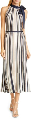 St. John Metallic Stripe Knit Halter Sweater Dress
