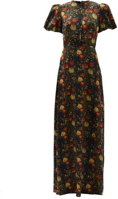 The Vampire's Wife The Confessional Floral-print Silk-satin Dress - Red Multi
