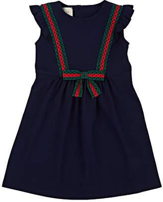 Gucci Kids' Web Stripe-Trimmed Piqué Dress - Blue