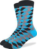 Good Luck Sock Men's Blue Geometric Squares Crew Socks