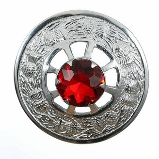 The Scotland Kilt Company New Made in Scotland Thistle Design Plaid Brooch - Red Stone - Chrome Finish