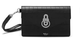 Mulberry Amberley Phone Clutch Black Matte Croc