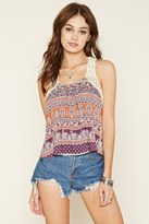 Forever 21 Abstract Crochet-Trim Crop Top