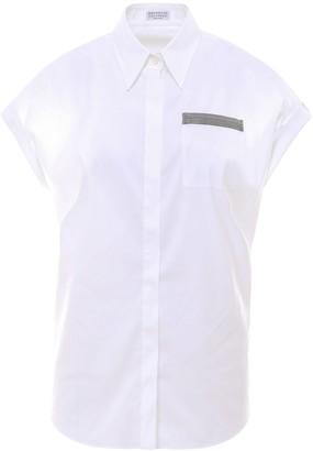 Brunello Cucinelli Embellished Pocket Short-Sleeve Shirt