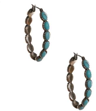 Lucky Brand silver-tone turq inlay hoop earrings