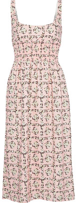 Emilia Wickstead Giovanna Shirred Floral-print Crepe Midi Dress