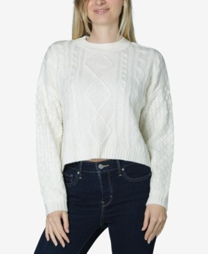 Ultra Flirt Juniors' Cropped Cable-Knit Sweater