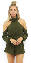 Reverse Brooks Romper in Army Green