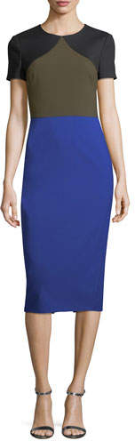 Diane von Furstenberg Short-Sleeve Colorblocked Tailored Midi Dress