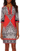Studio 1 Elbow-Sleeve Paisley Print Shift Dress